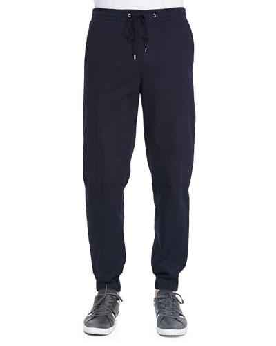 Vince Denim-Knit Jogging Pants, Indigo