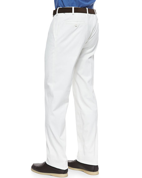 Four-Pocket Cotton Pants, White