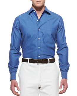 Loro Piana Andre Ginestra Button-Down Shirt, Blue