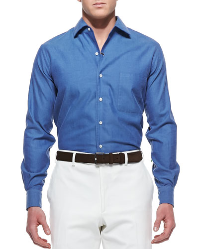 Loro Piana Andre Ginestra Button-Down Shirt, Blue