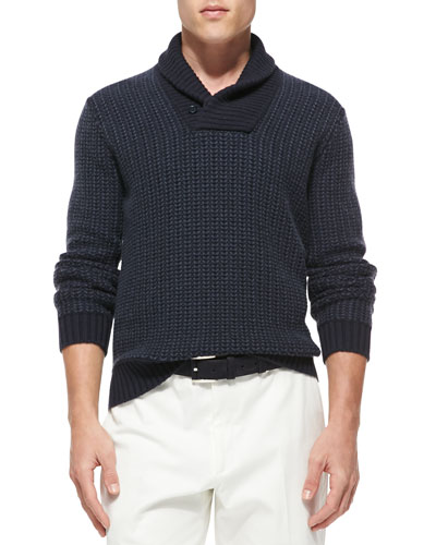 Loro Piana Cashmere Shawl-Collar Pullover Sweater, Navy