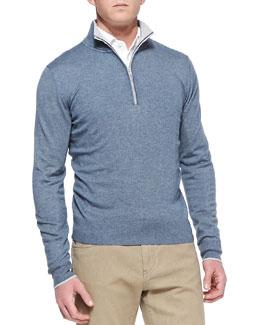 Loro Piana Mezzocollo Portland 1/4-Zip Sweater, Blue