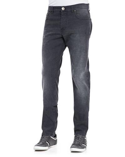 Stone-Wash Stretch-Denim Jeans, Black