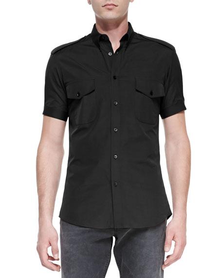 Alexander McQueen Short-Sleeve Military Shirt, Black