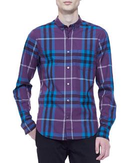 Burberry Brit Classic-Check Long-Sleeve Shirt, Purple