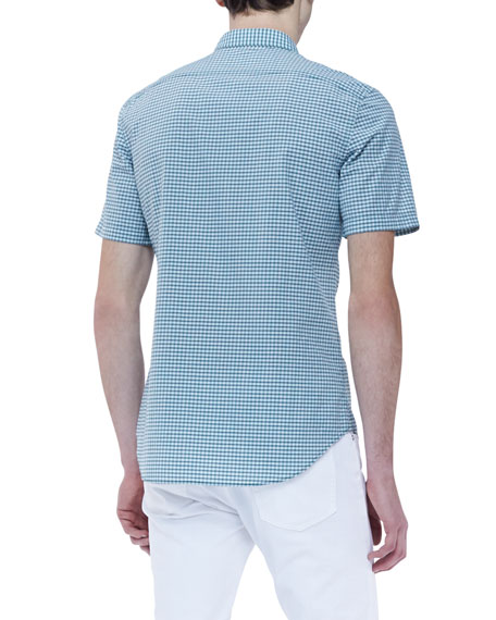Gingham Short-Sleeve Shirt, Green