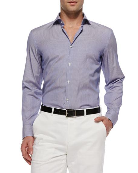 Hugo boss jason textured stripe sport shirt blue for Hugo boss jason shirt