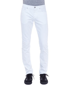 Burberry Brit Slim-Leg Denim Jeans, White