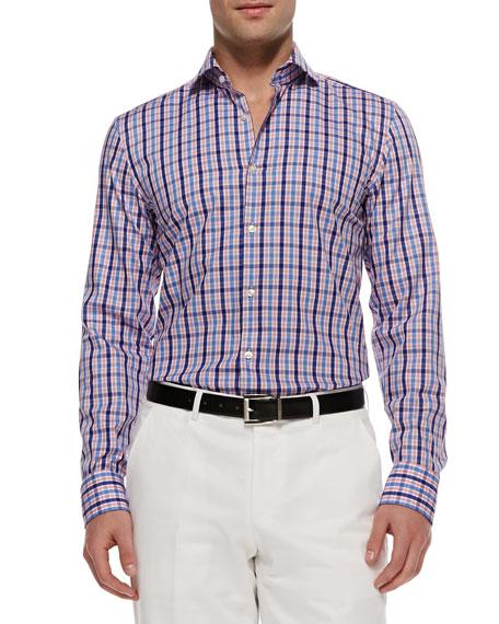 Hugo boss jason multi check button down shirt pink for Hugo boss jason shirt