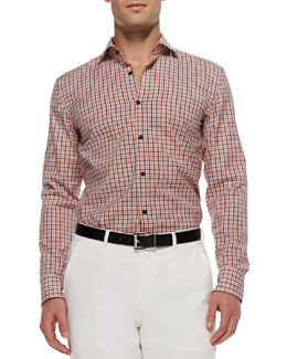 Boss Hugo Boss Jaser Slim-Fit Gingham Sport Shirt, Orange