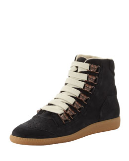 Maison Martin Margiela Men's Bulldog Lace-Up High-Top Sneaker, Black
