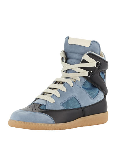 Maison Martin Margiela Men's Multi-Leather High-Top Sneaker, Blue/Black