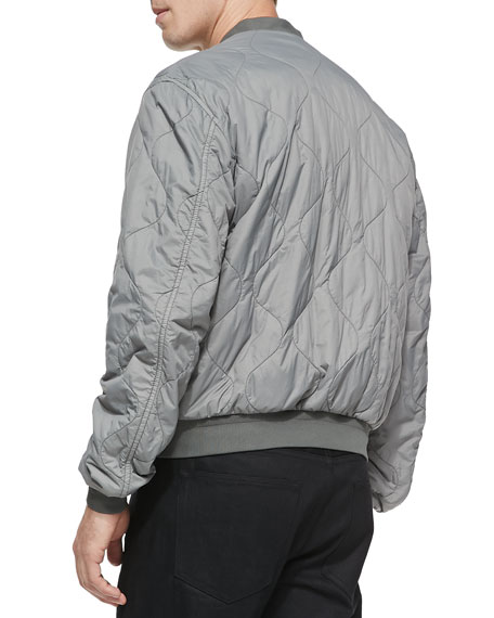 Quilted Nylon Blouson Jacket, Light Gray