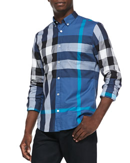 Burberry Brit Exploded Check Button-Down Shirt, Dark Blue