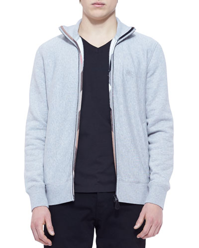 Hearst Full-Zip Sweatshirt with Check Lining