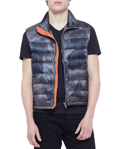 Camouflage-Print Puffer Vest, Gray