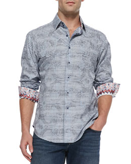Robert Graham Angelo Check Jacquard Sport Shirt, Purple