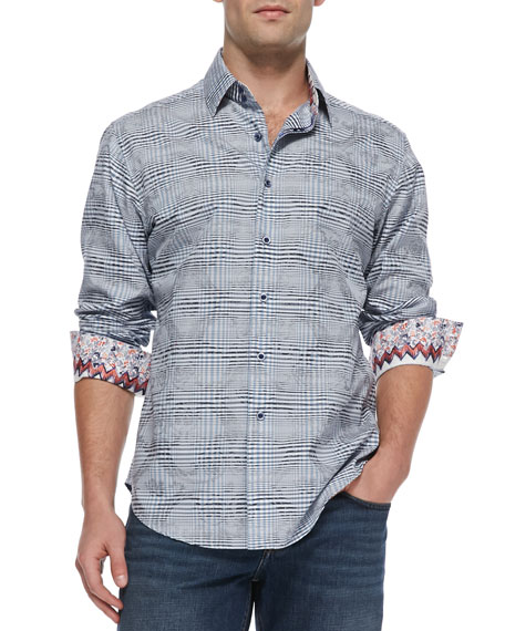 Angelo Check Jacquard Sport Shirt, Purple