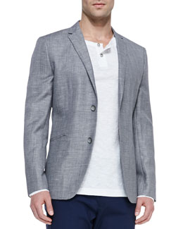 Theory Two-Button Jacket, Gray/Black
