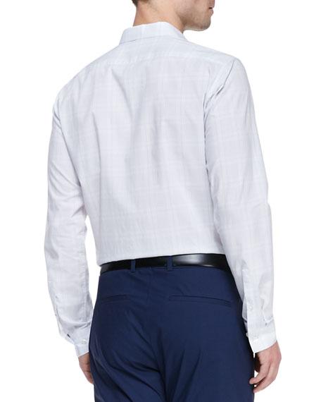 Windowpane Button-Down Shirt, White/Light Gray