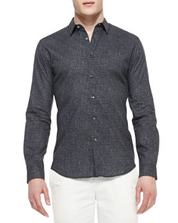 Theory Navy Printed Woven Shirt
