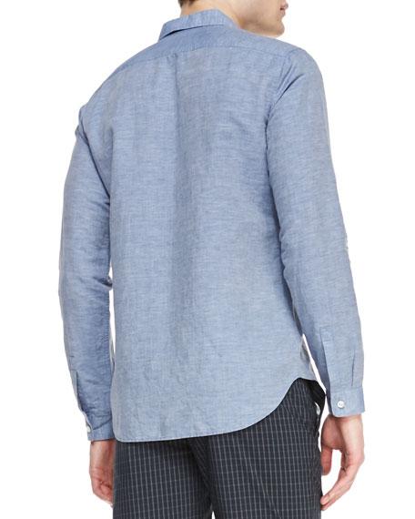 Linen-Cotton Long-Sleeve Shirt