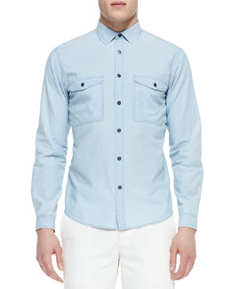 Theory Double-Pocket Chambray Shirt