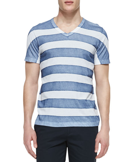 Thick-Striped Pima V-Neck Tee