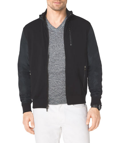Fleece/Nylon Zip Hooded Jacket