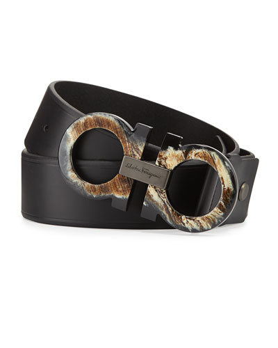 Salvatore Ferragamo Horn-Gancini Leather Belt, Black