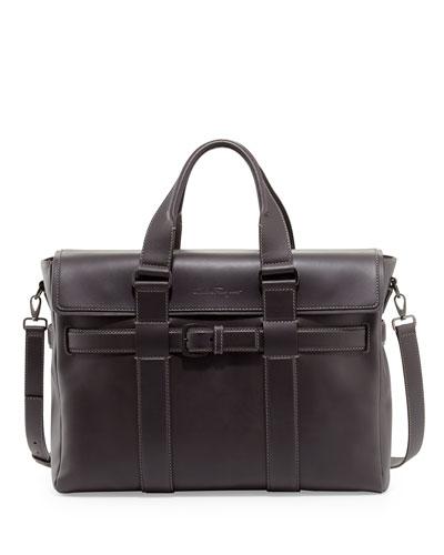Salvatore Ferragamo Principe Leather Briefcase, Black