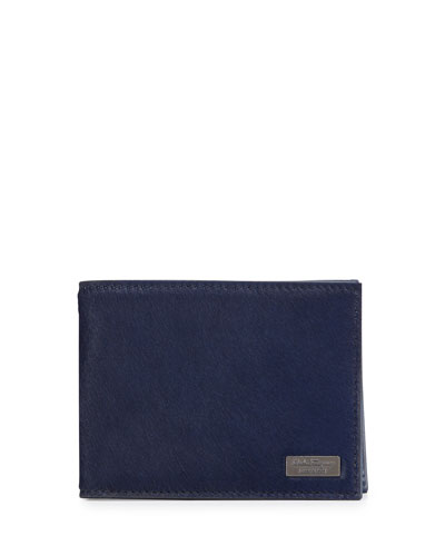 Salvatore Ferragamo Luxor Pony Bifold Calf Hair Wallet, Royal Blue