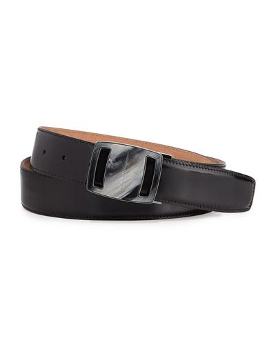 Salvatore Ferragamo Vara Sardegna Oversized Leather Belt, Black