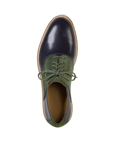 Christy Wedge Saddle Oxford, Blue/Olive