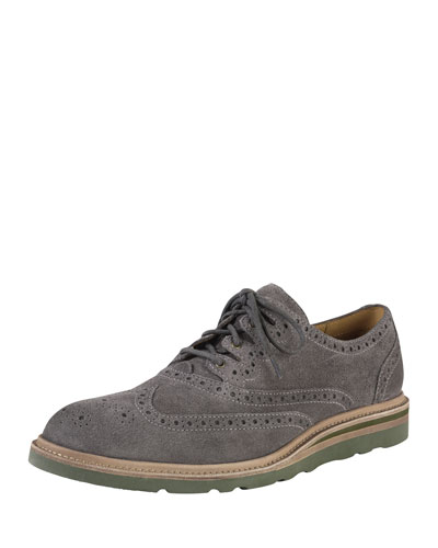 Christy Wedge Ghilley Wing-Tip, Dark Gray