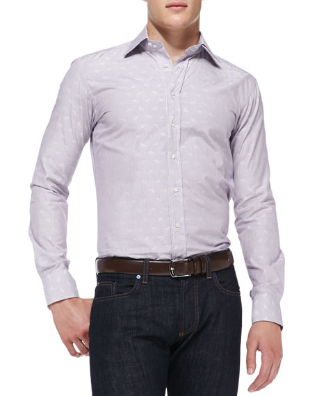 Stripe Woven Shirt with Tonal-Paisley Detail