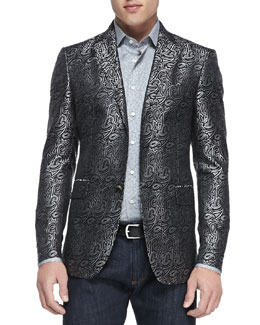 Etro Paisley Jacquard Evening Jacket, Gray/Black