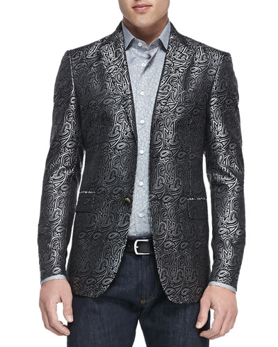 Etro Paisley Jacquard Evening Jacket, Gray/Black