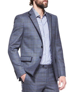 Etro Grosgrain-Trim Check Two-Button Blazer
