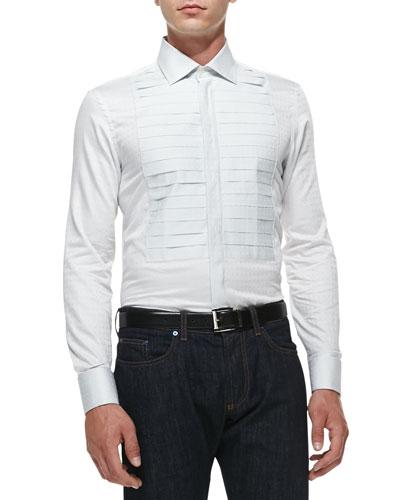 Etro Square-Jacquard Tuxedo Shirt, White