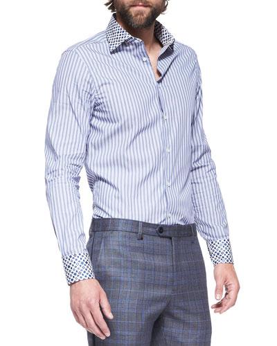 Etro Contrast-Detail Striped-Poplin Shirt
