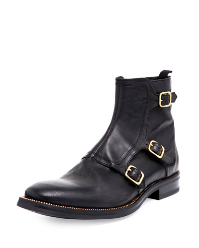 Alexander McQueen Triple-Monk-Strap Leather Boot, Black
