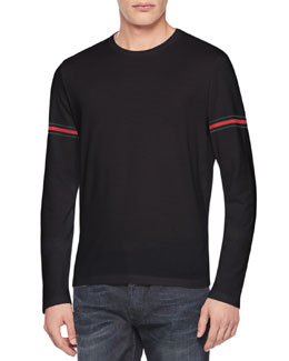 Gucci Jersey Web Long-Sleeve Tee, Black