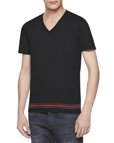 Gucci Jersey Web V-Neck Tee, Black