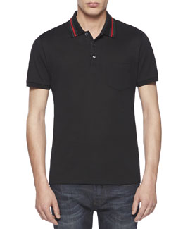 Gucci Cotton-Jersey Polo Tee, Black