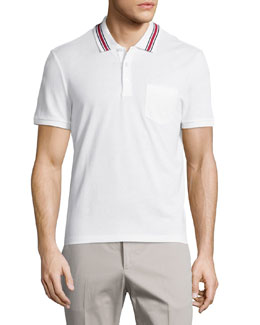 Gucci Cotton-Jersey Polo Tee, White