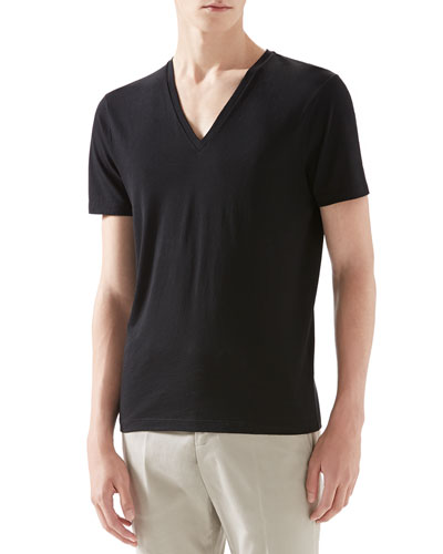 Gucci Cotton V-Neck Tee, Black