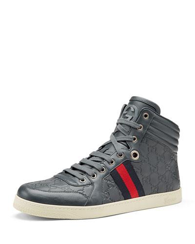 Gucci Coda Guccissima High-Top Sneaker, Gray