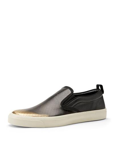 Gucci Diamante Leather Slip-On Sneaker, Black