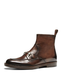 Gucci Leather Horsebit Boot, Cocoa